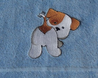 Dog Embroidered Bath Towel, Embroidered Towel, Dog Gift, Pet Gift, Grooming Towel