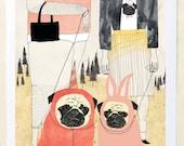 Pug Art Print, Pug Love, Art Print on Paper, Dog lover, Pug gift, Unique wall decor, Wall Art Print, Pug Love- Art Print on Paper