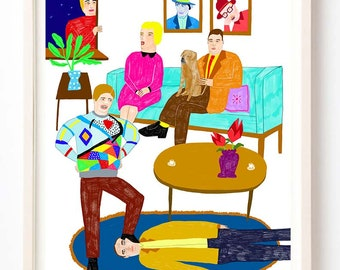 Art Print, Pattern, Silly, Quirky, Humor, Clark Often Got a Little Too Cocky When He Wore His Geometric Sweater - Fine Art Print