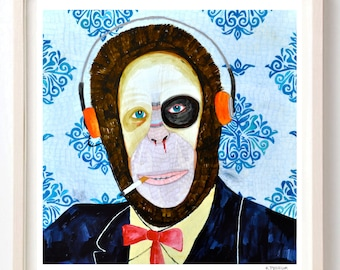 Art, Print, Animals, Monkey, Humor, Folk, Headphones, Weird, Vintage, Great Things Are Coming My Way, Susan-Print on Fine Art paper