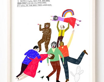 Art, Humor, Dance, Writing, Poster, Quirky, Bear, Rainbow, Books, Colorful, I Decided I Will Skip All the Bad Days- Fine Art Print