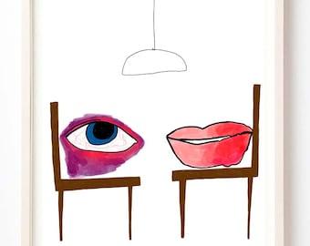 Illustration, Art Print, Lips, Eye, Quirky, Humor, White, A Black Eye Had a Meeting With a Fat Lip- Fine Art Print