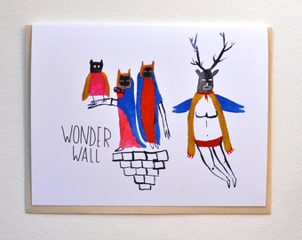Wonder Wall- Art Greeting Card, Animals, Illustration, Watercolor, Humor, Drawing, Quirky art, Music