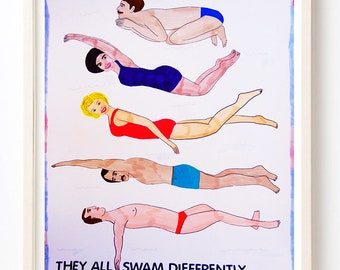 Art, Print, Swim, Humor, Gift, Quirky, They All Swam Differently to the Same Place - Fine Art Print
