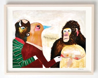 Art, Animal art, Animal lover gift, Humor, Mixed media, Silly, Birds, Colorful art, Affordable art, Titty Twister- print on fine art paper