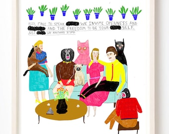 Art, Humor, Animals, Writing, Poster, Quirky, Cat, Unique Wall Art, Colorful, Plants, Feel Free to Speak Freely- Fine Art Print