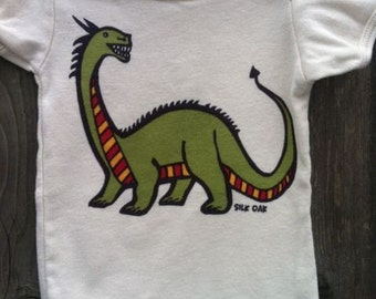 Year of the Dragon Hand Silkscreened Organic Infant Bodysuit
