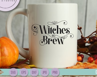 Halloween SVG, Witches Brew svg, cobwebs, spiderwebs spooky sign commercial use SVG, DXF, eps, jpg, and png file for silhouette or cricut