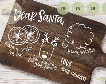 Dear Santa Cookies And Milk Svg Eps Png Cut File, Merry Christmas Svg, Santa Cookies Svg, Christmas DXF, Holidays Svg, Doodle Tray Svg