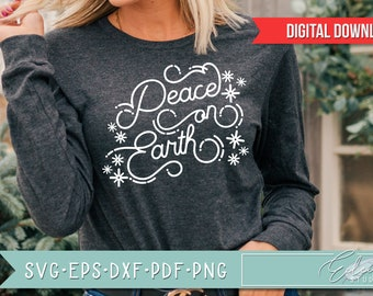 Retro Christmas, Vintage Holiday SVG, Peace On Earth SVG, Retro Script with Vintage Flair, Commercial Use SVG Instant Digital Download