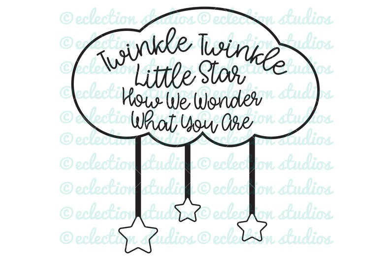 How We Wonder What you Are cloud with stars baby shower svg image 0