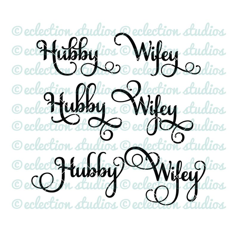 Hubby Wifey wedding engagement anniversary SVG file using image 0