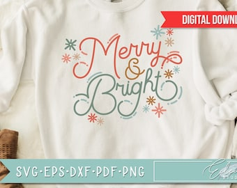 Retro Christmas, Vintage Holiday SVG, Merry and Bright, Retro Script with Vintage Flair, Commercial Use SVG Instant Digital Download
