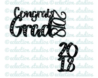 Class of 2018 cake and cupcake topper SVG due, graduation party cake topper file DXF for silhouette or cricut die cutting machine