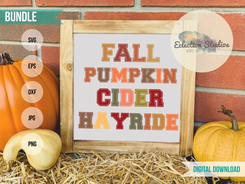 Fall SVG Bundle Stitched Word Collection Fall Pumpkin image 0