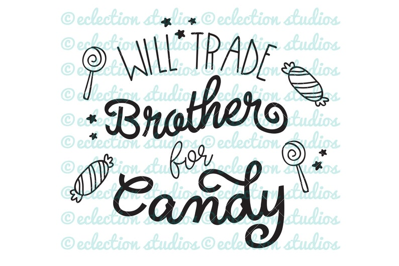Halloween SVG Will Trade Brother for Candy SVG baby image 0