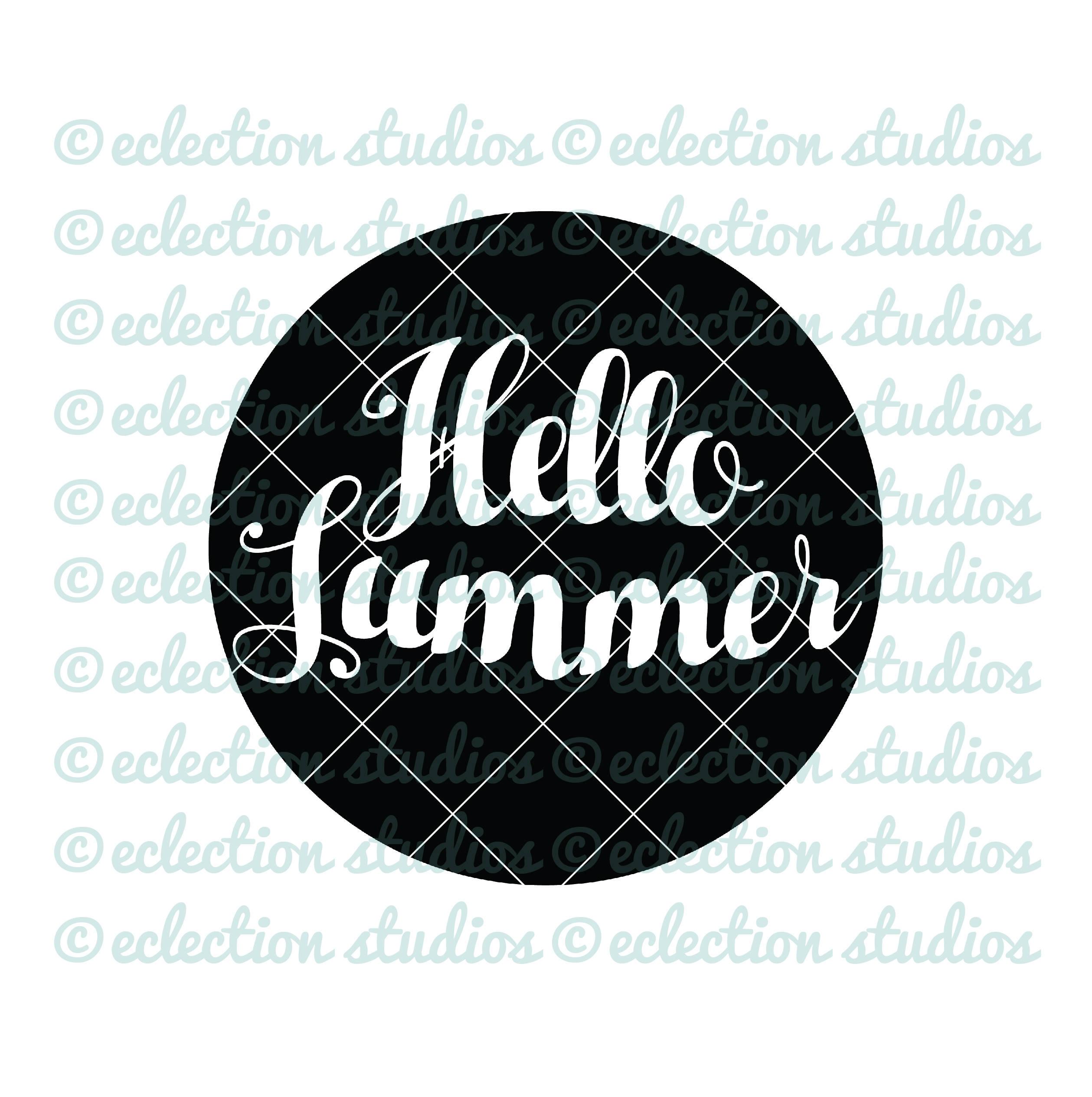 Summer SVG, Hello Summer, circle, summer, hipster, boy shirt SVG file for  silhouette or cricut die cutting machine