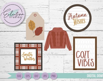 Tiered Tray SVG Sign Kit, Fall Sweater Weather Cozy  themed SVG bundle, Shiplap Signs, Laser Cutting, Mini Sign Kit File