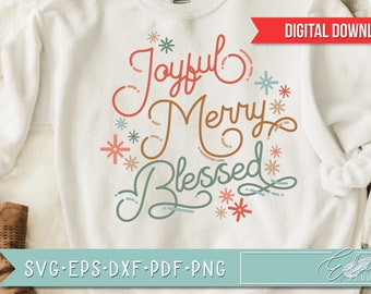 Retro Christmas, Vintage Holiday SVG, Joyful Merry Blessed, Retro Script with Vintage Flair, Commercial Use SVG Instant Digital Download