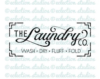The Laundry Co SVG, farmhouse svg, wood sign svg, simple modern style, laundry sign cut file, commercial use, svg, dxf, eps, png, jpg