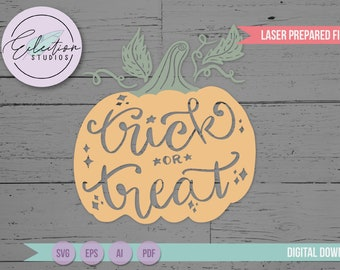 Pumpkin SVG, Trick or Treat hand lettered, hand drawn Trick or Treat Pumpkin laser cut file for Glowforge and other lasers
