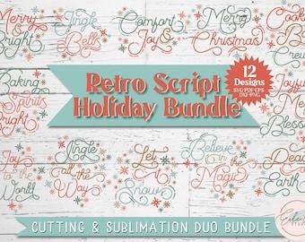 Retro Script Christmas SVG Bundle, Vintage Holiday Bundle, Cut Files and Sublimation PNG Bundle, Commercial Use SVG Instant Digital Download