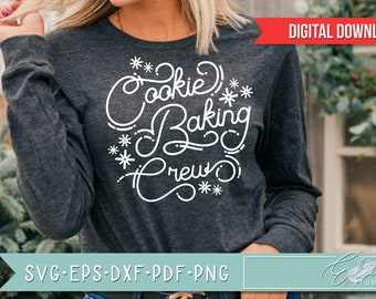 Retro Christmas, Vintage Holiday SVG, Cookie Baking Crew, Retro Script with Vintage Flair, Commercial Use SVG Instant Digital Download