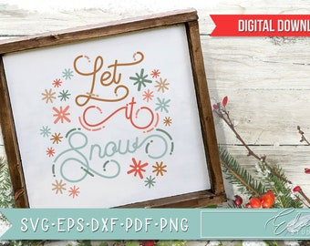 Retro Christmas, Vintage Holiday SVG, Let It Snow, Retro Script with Vintage Flair, Commercial Use SVG Instant Digital Download