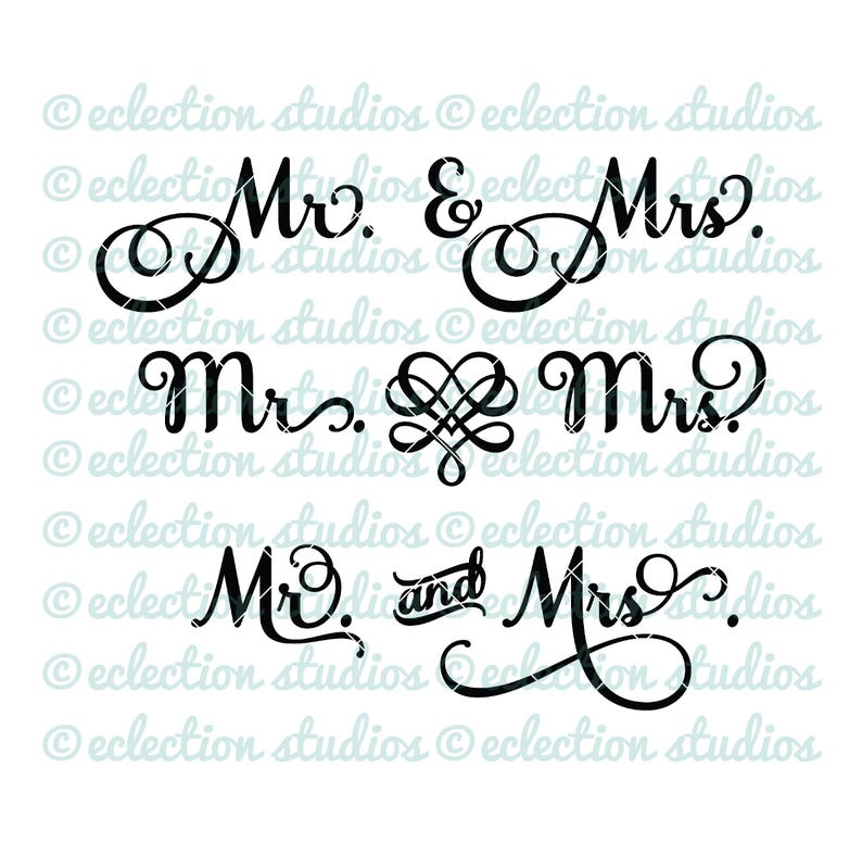 Wedding SVG Mr and Mrs wedding engagement anniversary image 0
