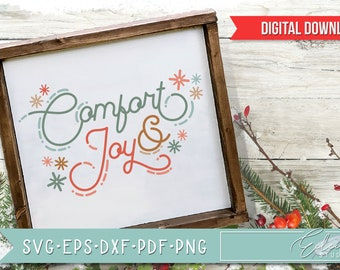 Retro Christmas, Vintage Holiday SVG, Comfort and Joy, Retro Script with Vintage Flair, Commercial Use SVG Instant Digital Download
