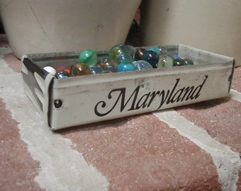 Rustic Maryland License Plate Tray - Storage Box - Planter - FREE SHIPPING