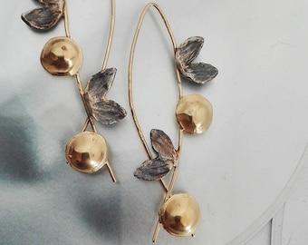 Two Tone Earrings,Wedding Earrings,Dangle Earrings,Artisan Jewelry,Sterling Dangles,Long Earrings,Handmade Earrings,Statement Jewelry