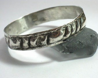 Solid Bracelet, Solid Silver Bangle, Textured Bangle, Hammered Bracelet Bangle, Women's Bangle, Designer Bangle, Chunky Silver Bracelet
