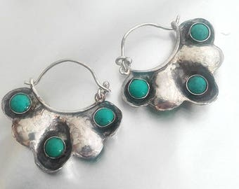 Sterling Silver Hoops with Turquoise stones Two Sided, Turquoise Earrings, Silver Earrings Turquoise,Floral Silver Earrings,Hoops Turquoise,
