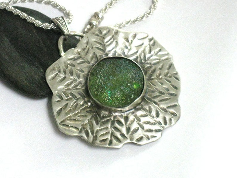 Pendant Necklace Silver Chain Sterling Necklace Glass pendant,Hammered Necklace Gifts for Women Ancient Glass Necklace Textured Silver