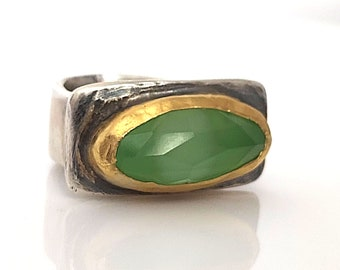 Statement Green Ring . Rectangle Ring . Horizontal Ring . Artisan Jewelry . Sterling Gold Ring . Solid Gold Silver. Bezel Set Ring
