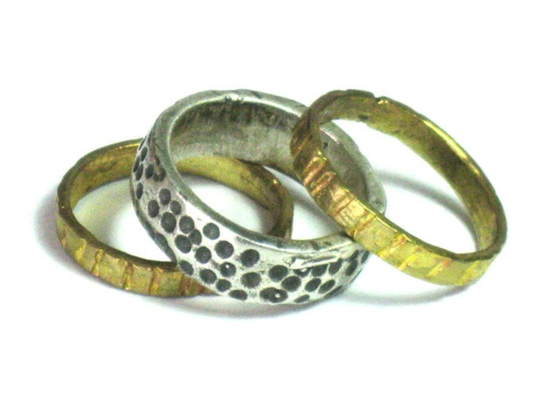 Silver Goldfilled RingSterling and Gold Stacking image 0