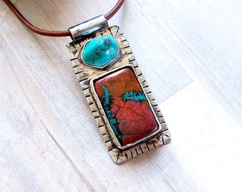 Natural Turquoise and Red Turquoise Rectangle Gemstone Pendant, Sonora Sunrise Stone, Gemstone Solid Silver Pendant, Sterling Necklace