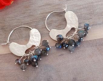 Labradorite Silver Earrings, Hoop Stone Earrings, Labradorite Jewelry, Gemstone Hoops, Chandelier Hoops, Sterling Silver, Gift for Her