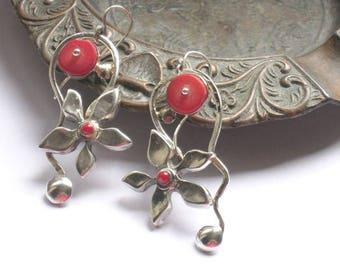 Coral Dangle Earrings, Red Coral Dangles, Coral Earrings Handmade, Flower Coral Earrings, Earrings Red Bridal, Long Coral Earrings