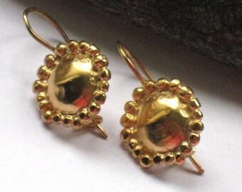 Gold Earrings, Gold Dangle Earrings, Gold Drop Earrings, Small Gold Dangle Earrings, Gold plated Silver, Round Earrings, Christmas Gift