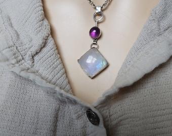 Moonstone Pendant, Moonstone Amethyst, Sterling Moonstone, Moonstone Necklace, Two Stone Necklace, Square Stone, Gemstone Pendant,