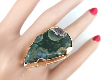 Large Jasper Ring,Green Jasper,Gold Ring,Gold  Stone Ring,Handcrafted Ring,Statement Ring,Artisan Ring,Gemstone Jewelry,Gift for Her