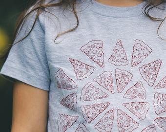 SALE - Ships Free - Pizza shirt Kids Toddler tshirt - food art USA made tee gift for boy gift for girl pizza art