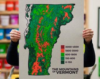 Vermont Topographical Map Screenprint - long trail art print mountain poster map art green mountains