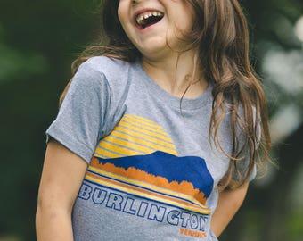 Burlington Vermont kids shirt toddler tee sunset t-shirt vintage shirt