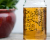 Vegetables Pint Glass SET of 2 - barware drinking glasses vegan vegetarian gardener housewarming gift