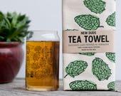 Pint Glass and Tea Towel Set Hops design brewer beer lover beer gift