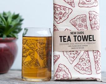 Pint Glass and Tea Towel Set Pizza design