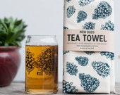 Pinecone Pint Glass and Tea Towel Set - housewarming gift kitchen towel beer lover drinking glass